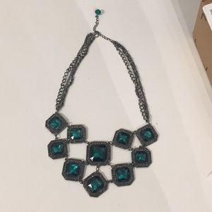 Evening Statement Necklace w/ Emerald Stones